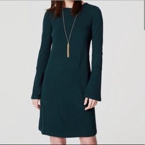 Ann Taylor Loft Green Long Bell Sleeve Dress